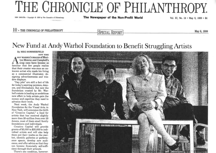 The Chronicle of Philanthropy clipping on Creative Capital launch